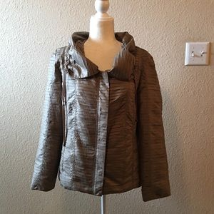 Chicos Taupe Pleated Satin Polyester Jacket